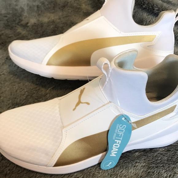 d89fbed8b74 Brand new White Gold Soft foam insert Puma kicks